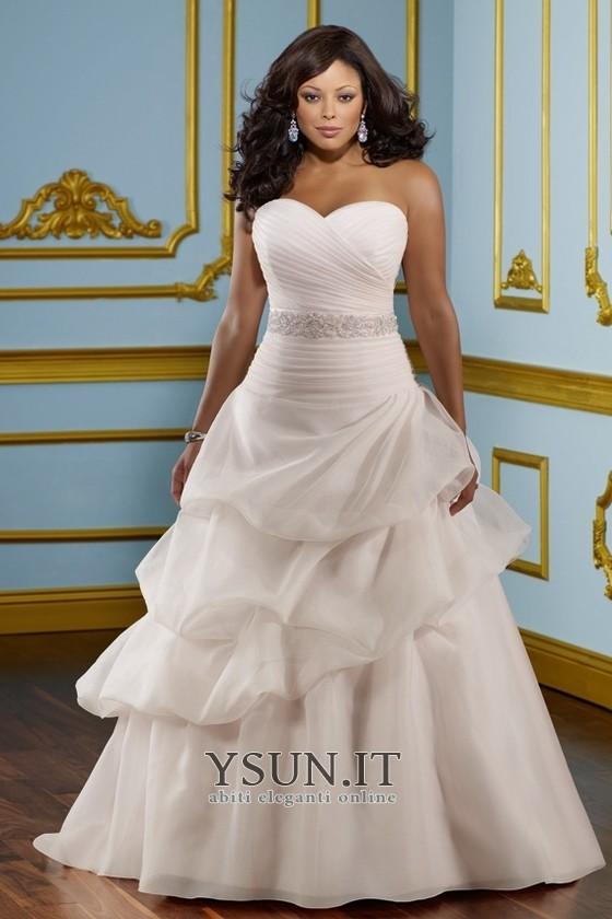 Vestiti Da Sposa Taglia 46.Abiti Da Sposa Taglie Forti Principessa Bassa Organza Cinghia In
